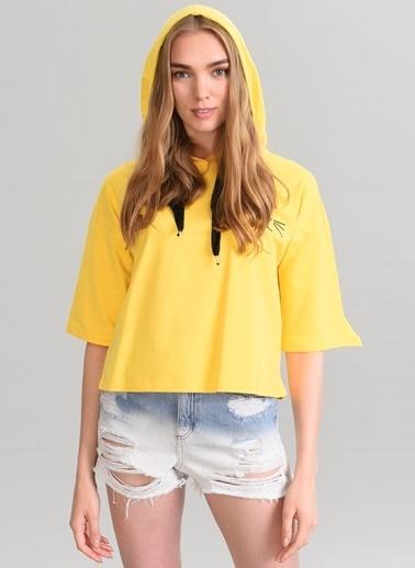 Agenda Nakış Detaylı Sweatshirt Sarı